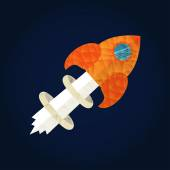 Start up concept for new business, ideas, innovation and development. Rocket in polygonal style. — Stock vektor