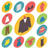 Clothing icons 3d isometric vector — Wektor stockowy