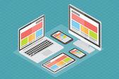 Responsive web design, computer equipment, 3d isometric flat vector. — Stock Vector