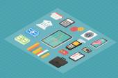 Finance isometric 3d icons. — Stockvector