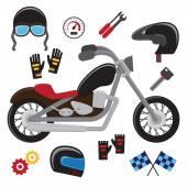Motorcycle set. Vector — Stock Vector