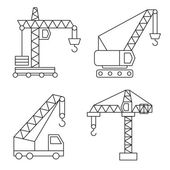 Construction icons. Cranes. Thin Line vector elements. — Stock Vector