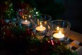 Tè di Natale sfondo candele — Foto Stock