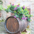 Oak barrel and flowers — Stock Photo #62718845