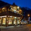 Cafe, Restaurant in the center of the town, Chamonix, France — Stock Photo #65277065
