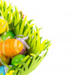 Green grass box with Easter eggs on white background — Stock Photo #67074145