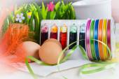 Colorful dyes and ribbons for easter eggs preparation  — Stock Photo