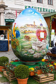 Colorful  big painted Easter egg at the traditional market in Vienna — Stock Photo