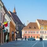 Council Square - Piata Sfatului - and Black church in downtown of Brasov, Romania. — Stock Photo #70562797