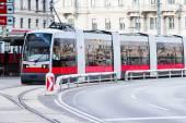 Modern red tram in Vienna Austria. — Stock Photo