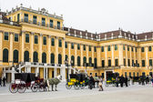 Horse carriages fiaker in front of the Schonbrunn palace, Vienna — Stock Photo