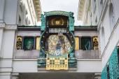 Jugendstil Ankeruhr Vienna Clock at Hoher Markt — Stock Photo