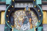 Close up Jugendstil Ankeruhr Vienna Clock at Hoher Markt — Stock Photo