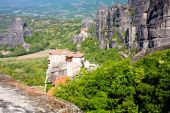 Meteora monasteries on the high cliffs, Greece — Stock Photo