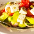 Close up Greek Fresh vegetable salad with white feta cheese — Stock Photo #75132957