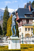 Statue of Carol I, king of Romania, in front of Peles Castle, Romania — Stock Photo