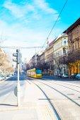 Yellow modern tram in Budapest, Hungary — Stock Photo
