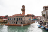 Canal and tower view  in Murano island, street, boats — Stock Photo