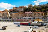 Houses of Ancona, square with the trucks ready for boarding to ferry, train — Stock Photo