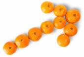 Ripe Juicy Orange Tangerine Lined As A Arrow — Stock Photo