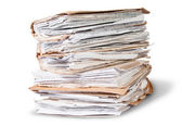 Old Files Stacking Up In A Messy Order Rotated — Stock Photo
