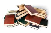 Piled on a bunch of old books top view — Stock Photo
