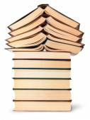 Stack of open and closed old books bottom view — Stock Photo