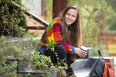 Autumn traveler woman — Foto Stock