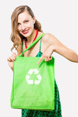 Woman with an ecological bag — Stock Photo