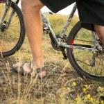 Cyclist riding mountain bike — Stock Photo #57145509