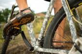 Cyclist riding mountain bike — Stock Photo