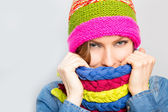 Woman in hat and scarf happy smiling — Stock Photo