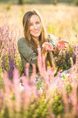 Romantic beauty woman outdoor portrait — Stok fotoğraf