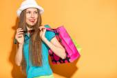 Summer shopping woman — Stock Photo