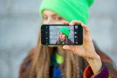 Automne à l'extérieur de selfie — Photo