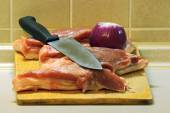 Meat on a cutting Board,ready for cooking — Stock Photo