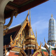 Temple of the emerald Buddha in Bangkok on the background of blue sky — Stock Photo #64051969