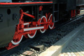 As rodas de uma velha locomotivas a vapor — Fotografia Stock