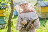 Young beekeeper using a smoker on bee yard — Foto Stock