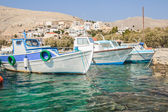 Fishing boats floating on Greek island Kalymnos — Stock Photo