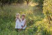 Summer portrait of sibling children are in old apple orchard — Stock Photo