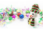 Snowman and Christmas ornaments — Stock Photo