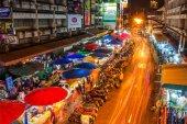 Warorot market and long exposure night life — Stock Photo