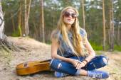 Portrait of a hippie girl in the woods — Stock Photo