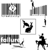 Success concept with barcodes, silhouettes — Stock Vector