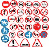 Set of hand drawn traffic signs by children in vector — Stock Vector