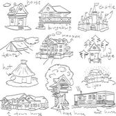 Hand drawn set doodle of habitation, vector — Stock Vector