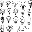 Set of Hand-drawn light bulbs, symbol of ideas — Stock Vector #53973113