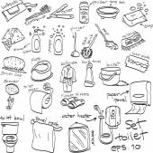 Hand drawn set of toilet objects, doodles — Stock Vector