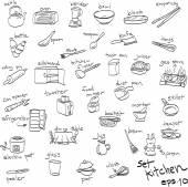 Ručně kreslenou sada objektů v kuchyni, čmáranice — Stock vektor